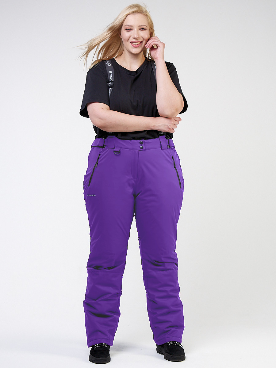 Купить оптом Брюки горнолыжные женские большого размера фиолетового цвета 1878F в Нижнем Новгороде
