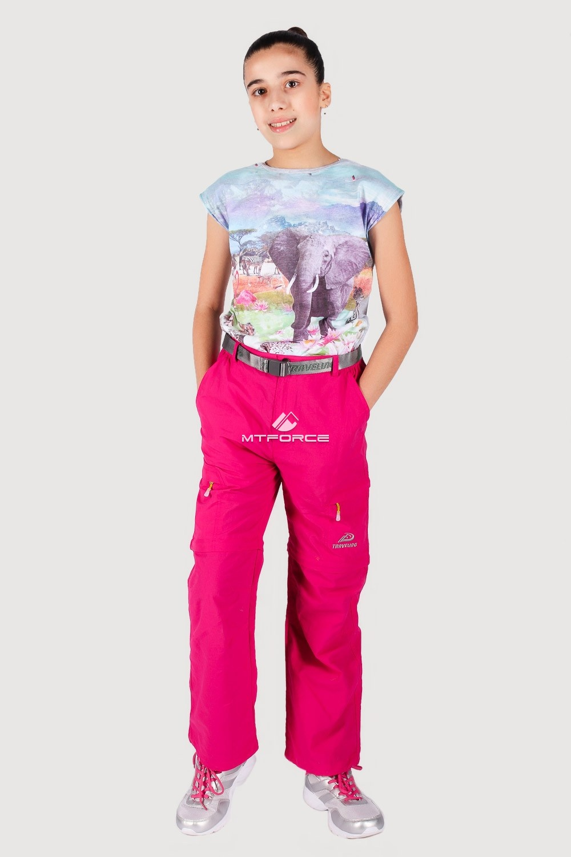 Купить оптом Брюки спортивные подростковые для девочки розового цвета 18094R в Самаре