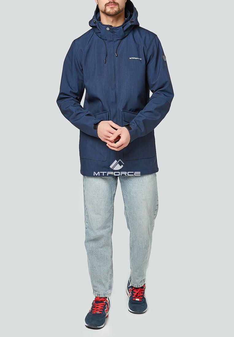 Купить оптом Парка softshell мужская темно-синего цвета 1904TS в Казани