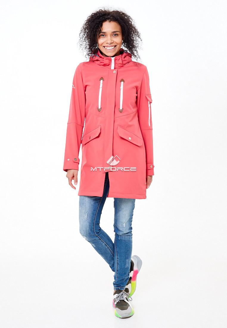 Купить оптом Парка женская осенняя весенняя softshell розового цвета 1911-1R