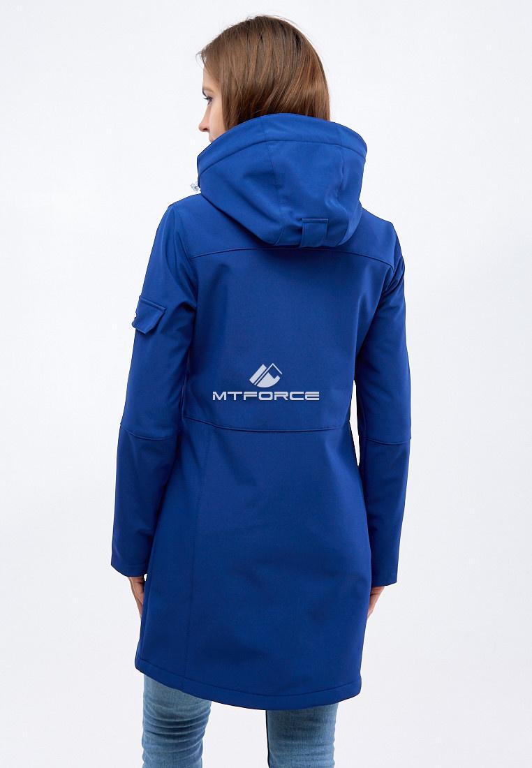 Купить оптом Парка женская осенняя весенняя softshell темно-синего цвета 1911-1TS