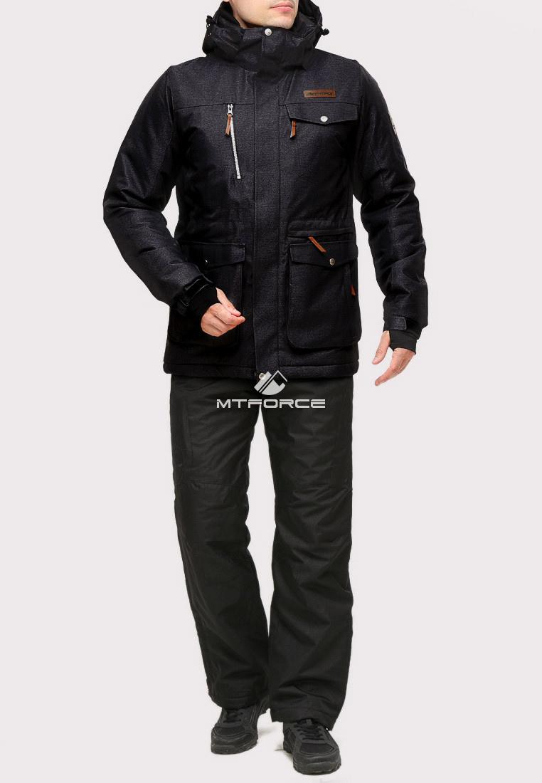 Купить оптом Костюм горнолыжный мужской черного цвета 01911Ch в Казани