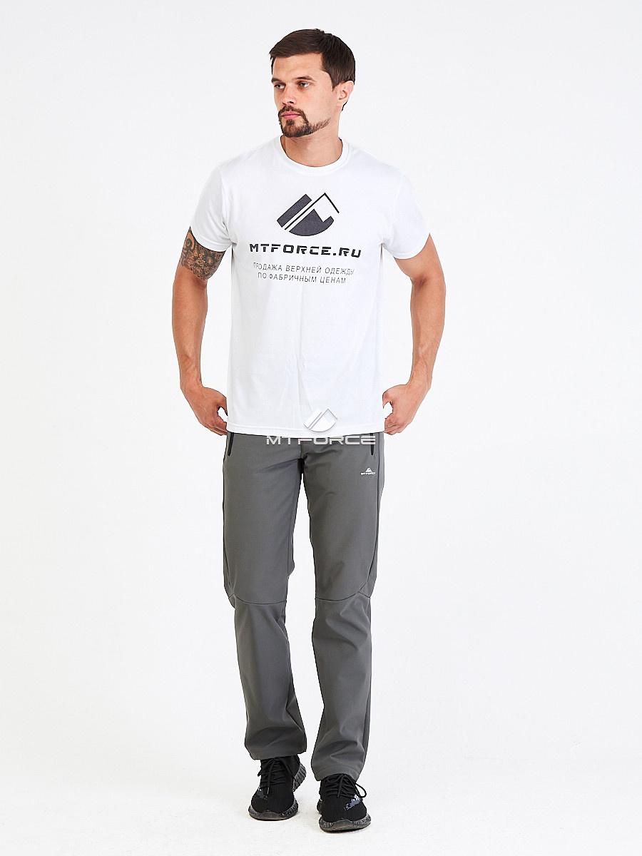 Купить оптом Брюки мужские из ткани softshell серого цвета  19121Sr в Перми