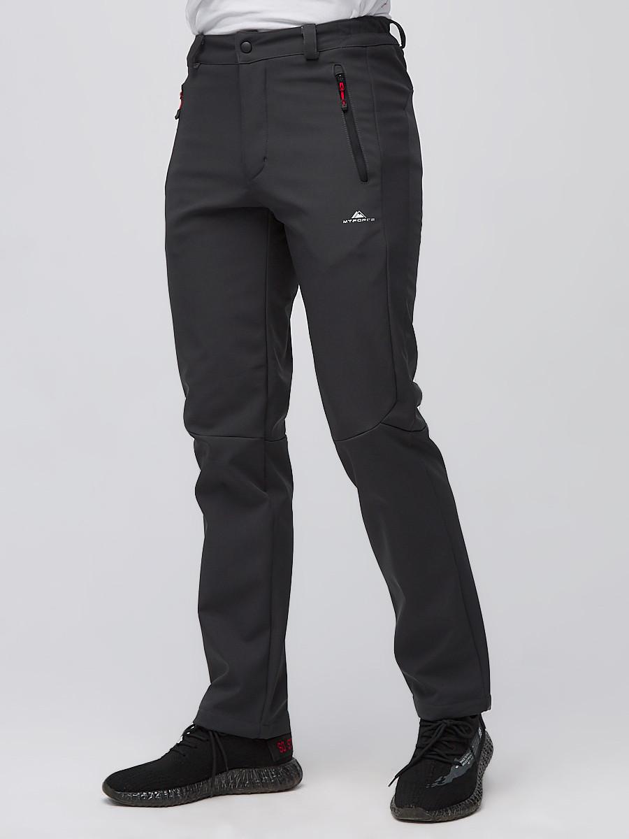 Купить оптом Брюки мужские из ткани softshell темно-серого цвета  19121TC в Волгоградке