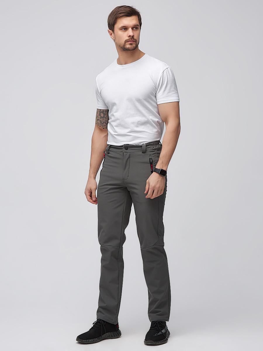 Купить оптом Брюки мужские из ткани softshell серого цвета  19121Sr