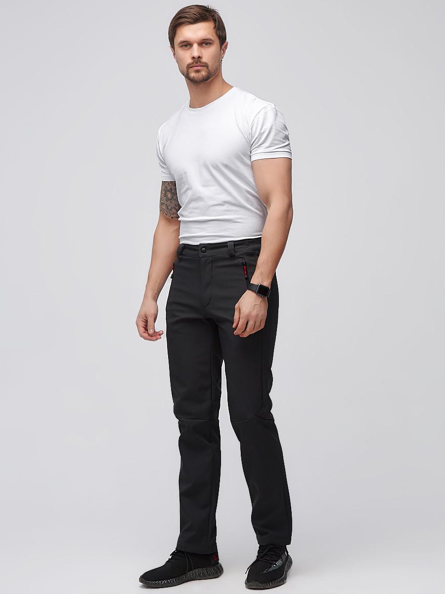 Купить оптом Брюки мужские из ткани softshell черного цвета  19121Ch в Сочи