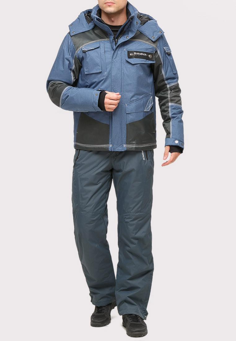 Купить оптом Костюм горнолыжный мужской голубого цвета 01912Gl