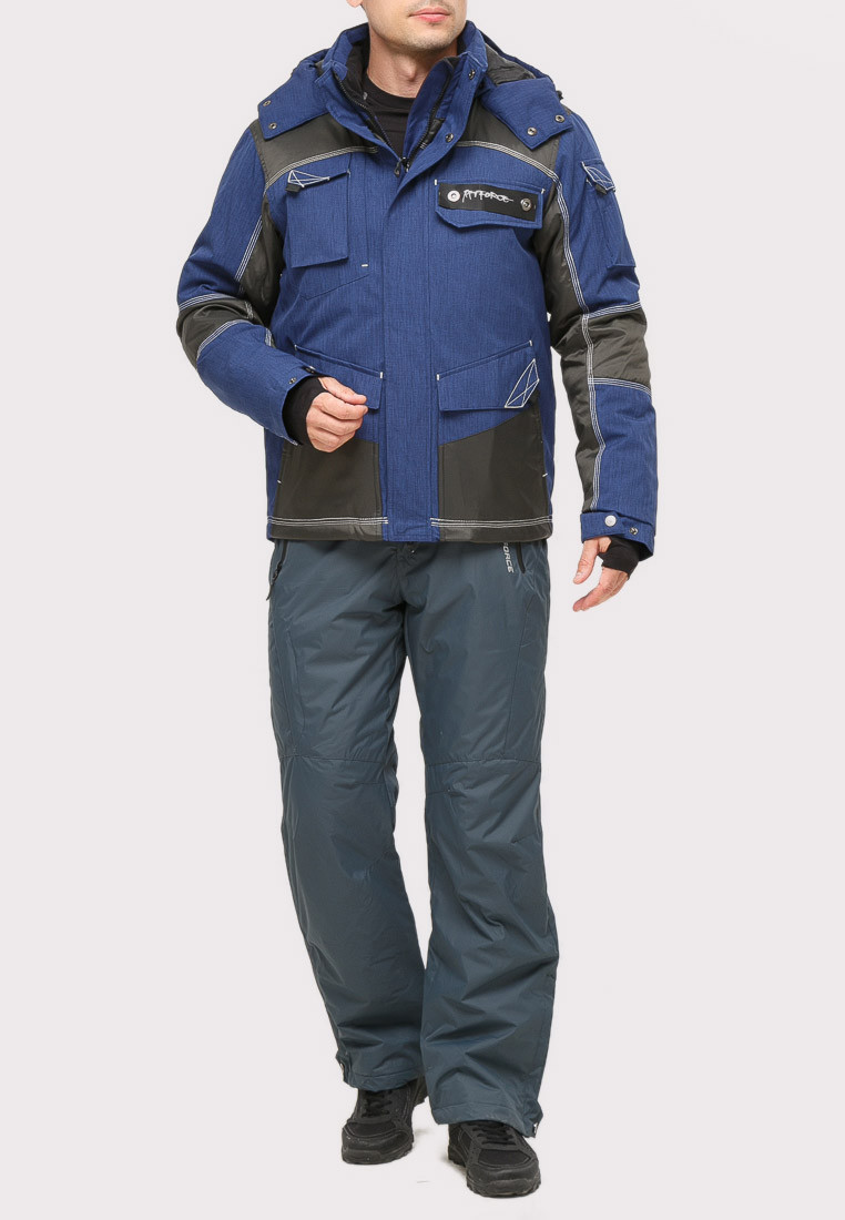 Купить оптом Костюм горнолыжный мужской темно-синего цвета 01912TS в  Красноярске
