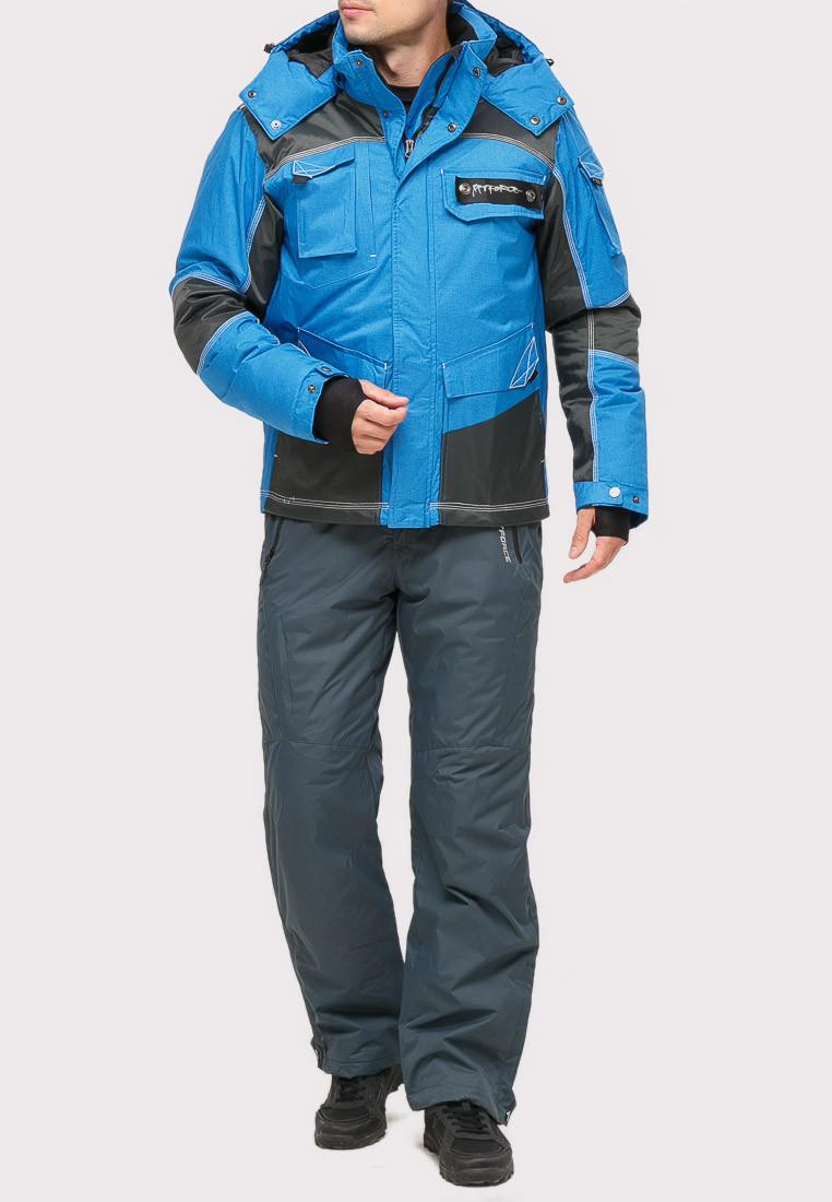 Купить оптом Костюм горнолыжный мужской синего цвета 01912S в  Красноярске