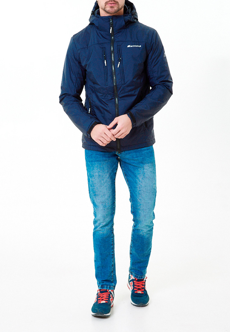 Купить оптом Молодежная куртка мужская темно-синего цвета 1913TS