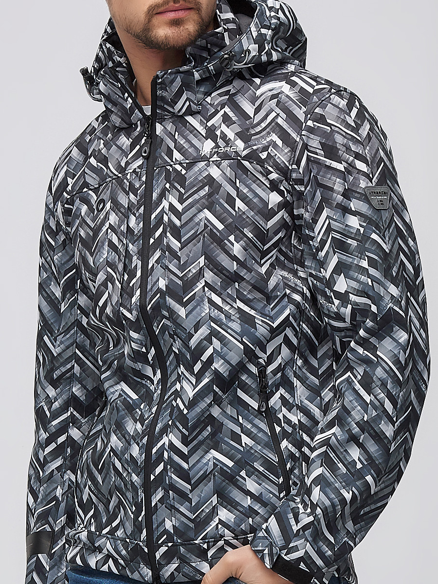 Купить оптом Ветровка softshell мужская серого цвета 1915-1Sr