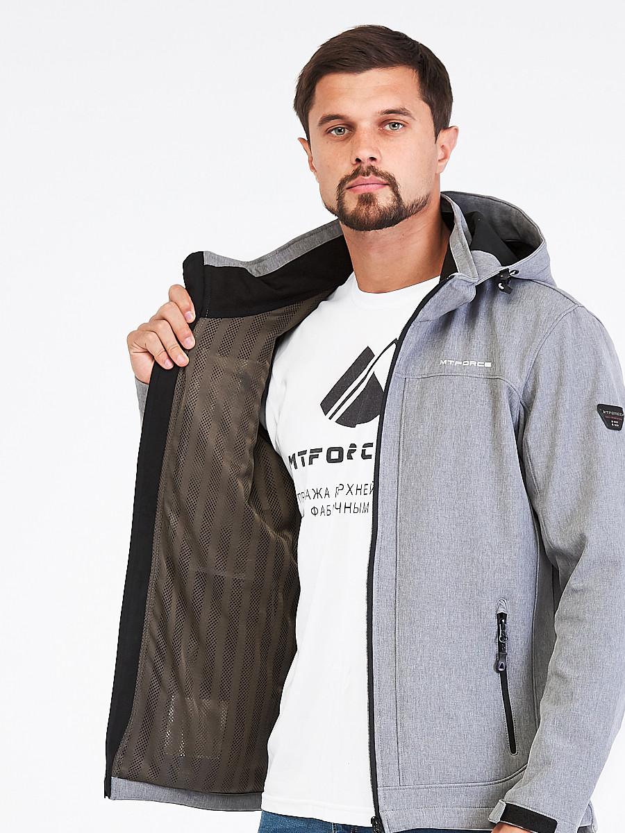 Купить оптом Ветровка softshell мужская светло-серого цвета 1915SS в Санкт-Петербурге