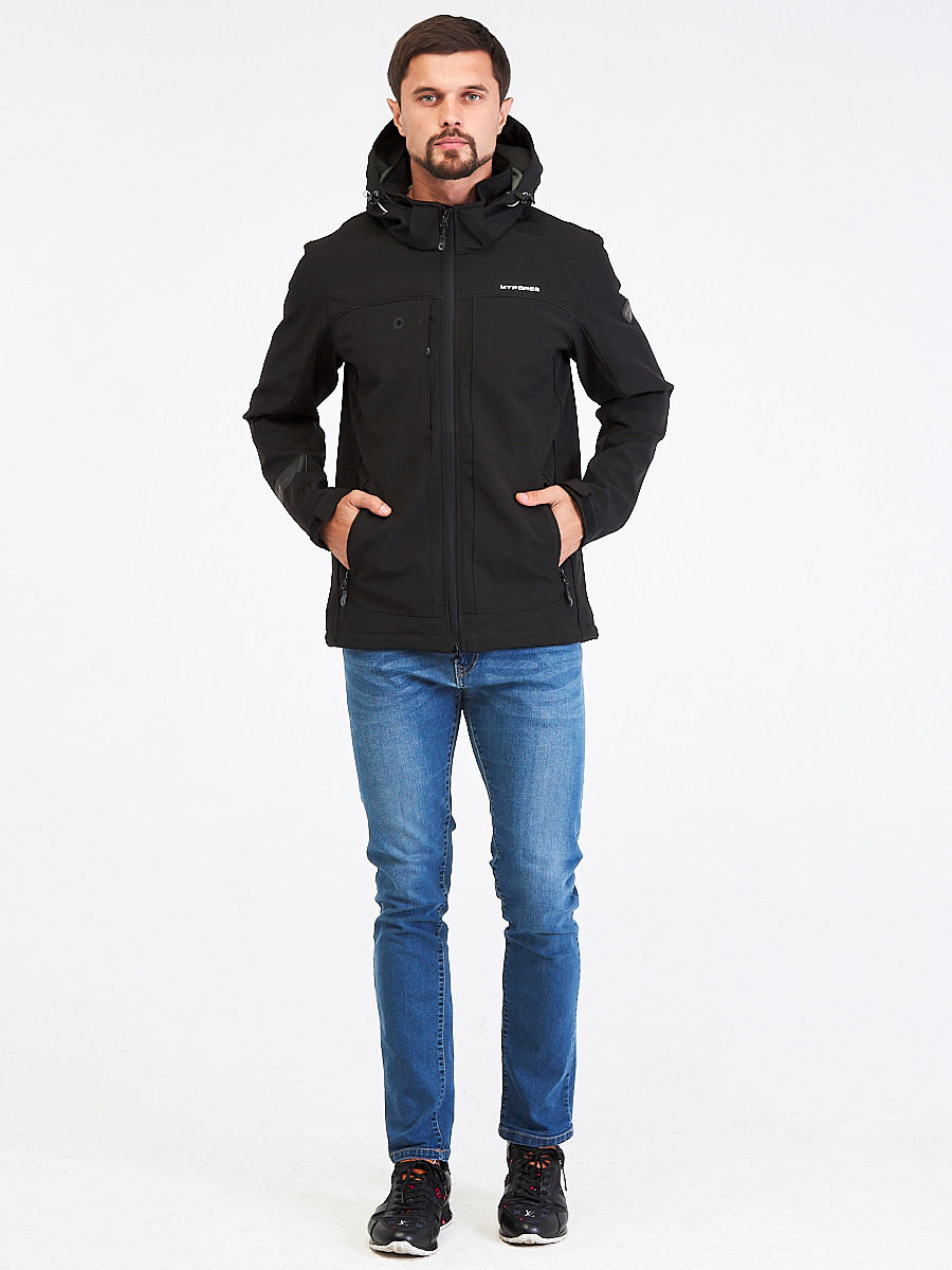 Купить оптом Ветровка softshell мужская черного цвета 1915Ch