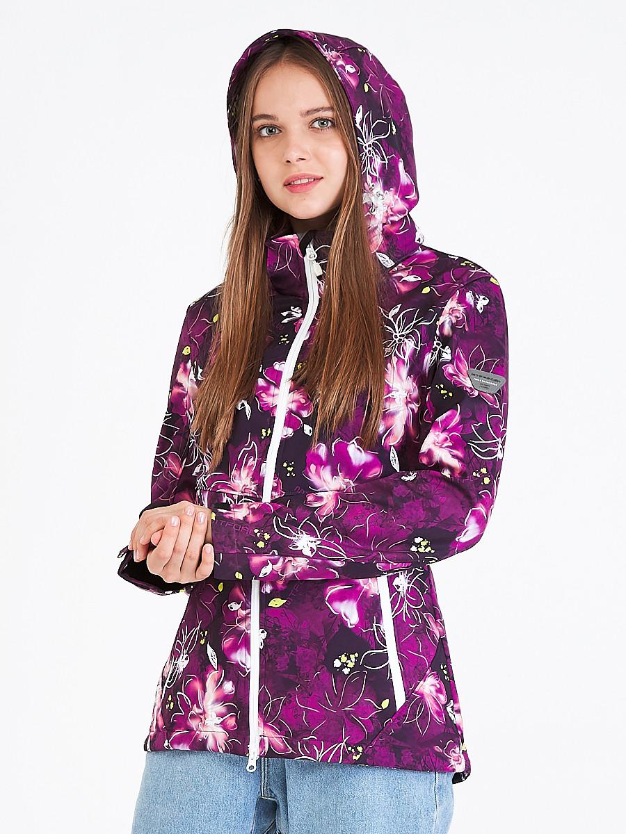 Купить оптом Ветровка softshell женская фиолетового цвета 1977F