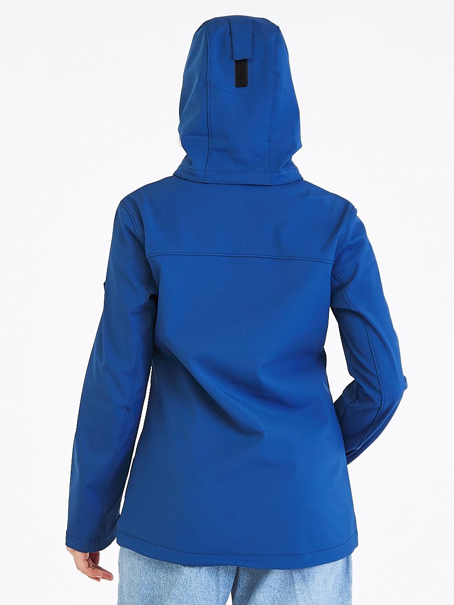 Купить оптом Ветровка softshell женская синего цвета 19077S в Воронеже