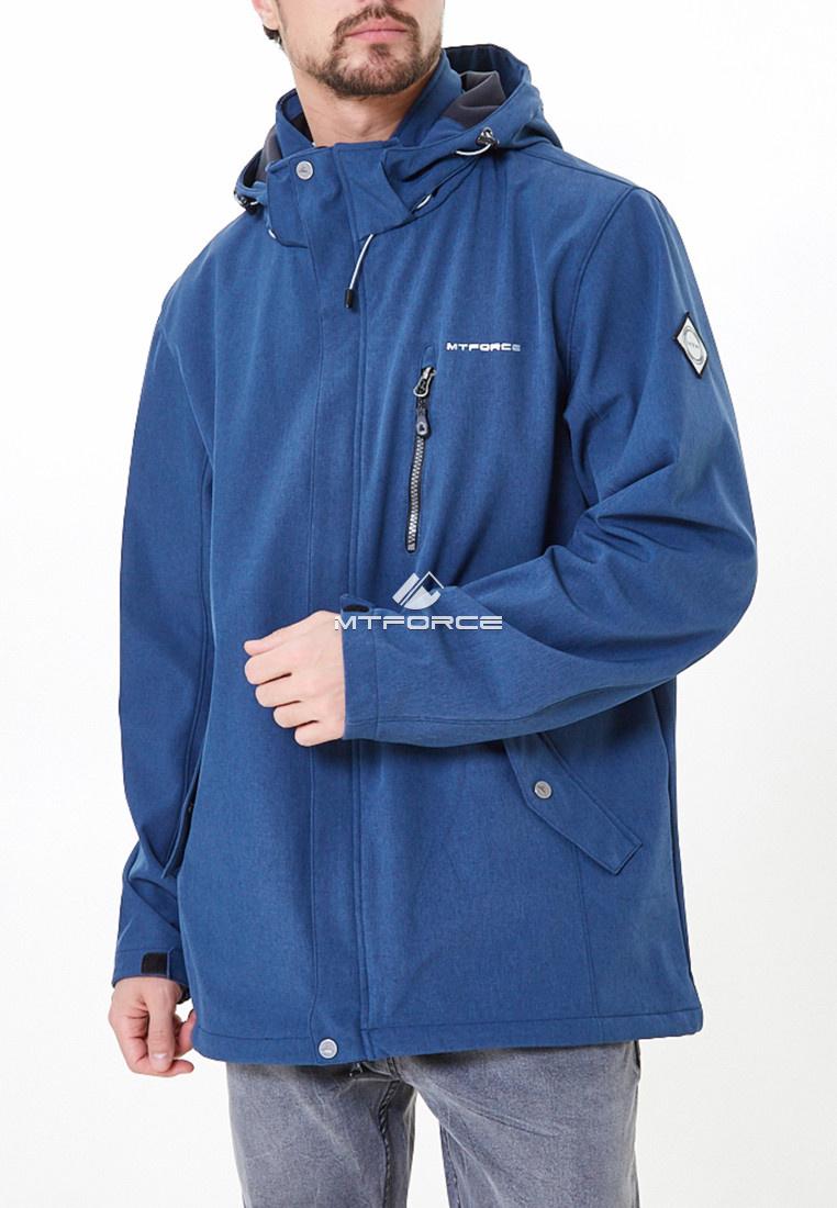 Купить оптом Ветровка softshell мужская большого размера синего цвета 1921-1S в Санкт-Петербурге