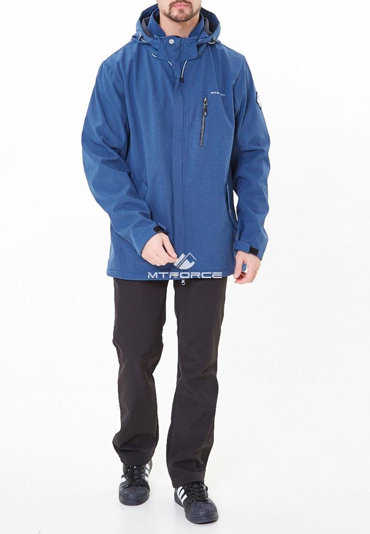 Купить оптом Костюм мужской большого размера softshell синего цвета 01921-1S в Казани