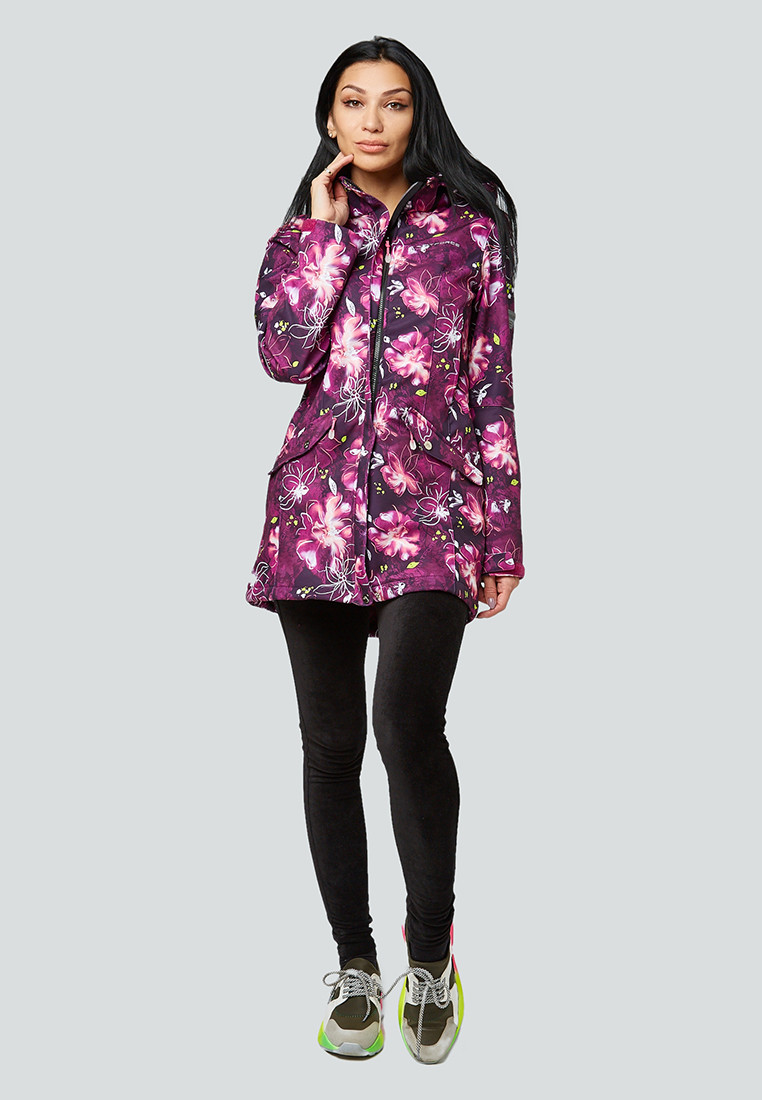 Купить оптом Парка женская осенняя весенняя softshell фиолетового цвета 1922-2F