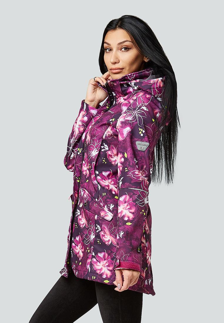Купить оптом Парка женская осенняя весенняя softshell фиолетового цвета 1922-2F в Омске