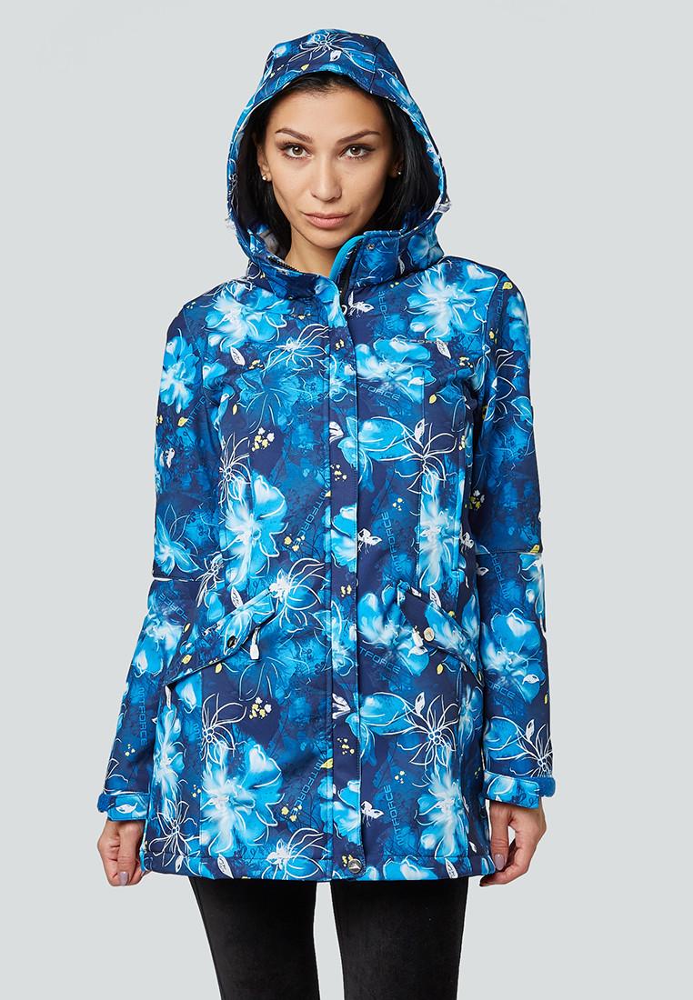 Купить оптом Парка женская осенняя весенняя softshell синего цвета 1922-2S