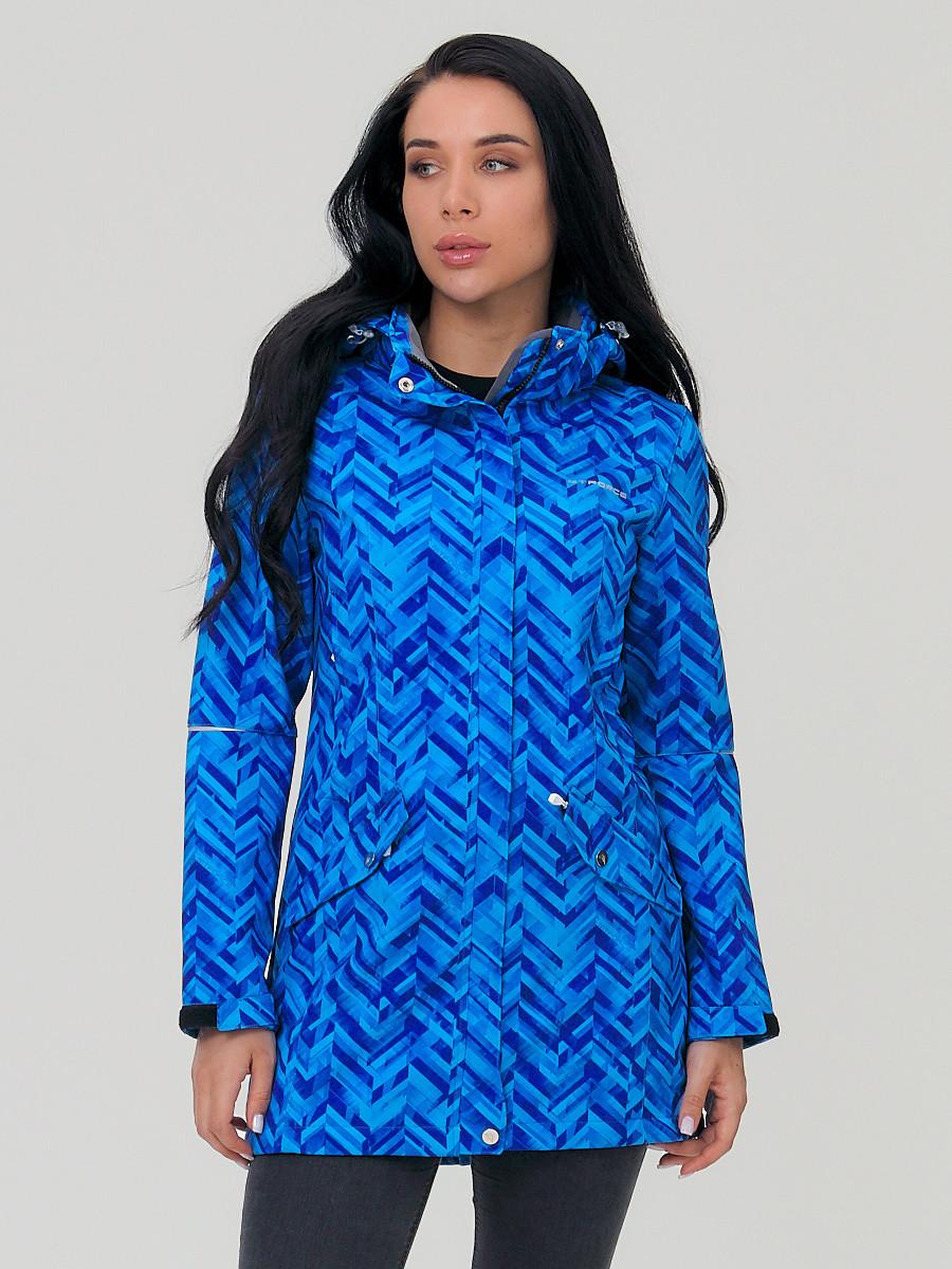 Купить оптом Парка женская осенняя весенняя softshell синего цвета 19221S