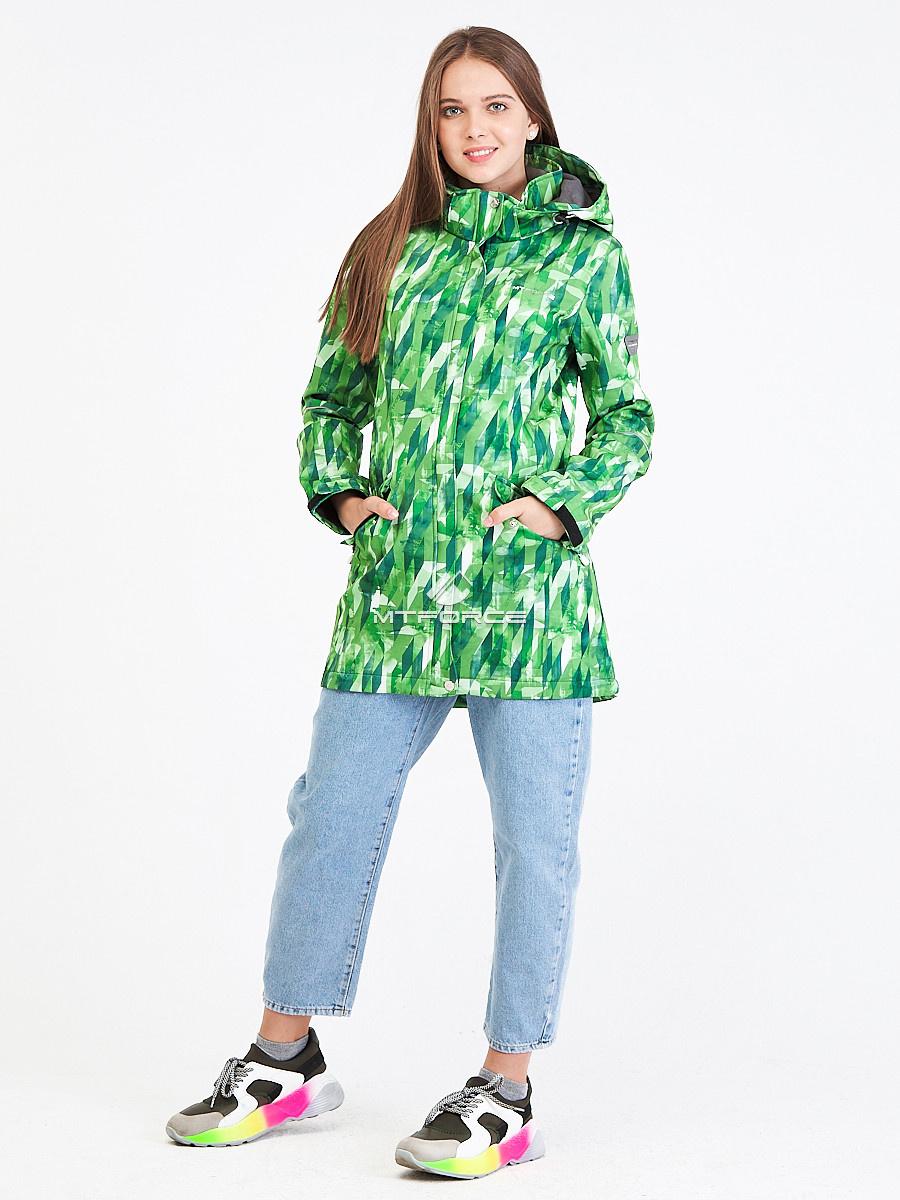 Парка женская осенняя весенняя softshell зеленого цвета 19221Z