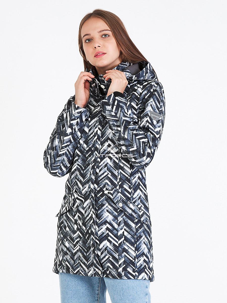 Купить оптом Парка женская осенняя весенняя softshell темно-серого цвета 19221TC