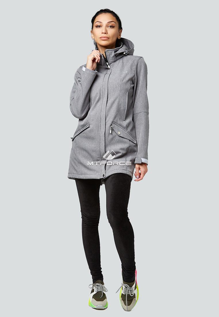 Купить оптом Парка женская осенняя весенняя softshell серого цвета 1922Sr в Екатеринбурге