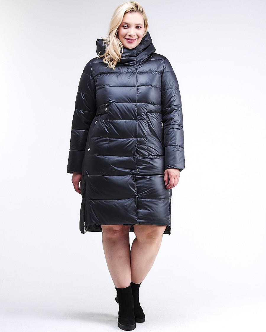 Купить оптом Куртка зимняя женская молодежная темно-синего цвета 191923_02TS