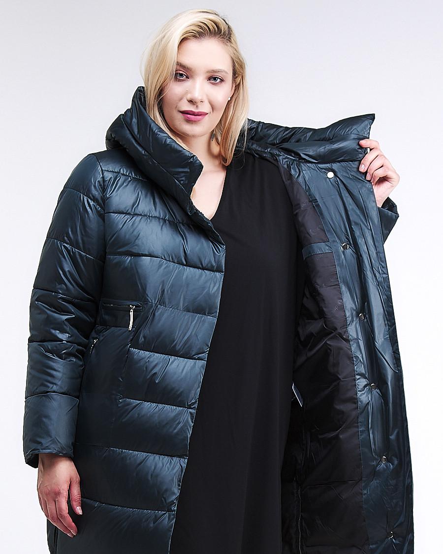 Купить оптом Куртка зимняя женская молодежная темно-зеленого цвета 191923_03TZ
