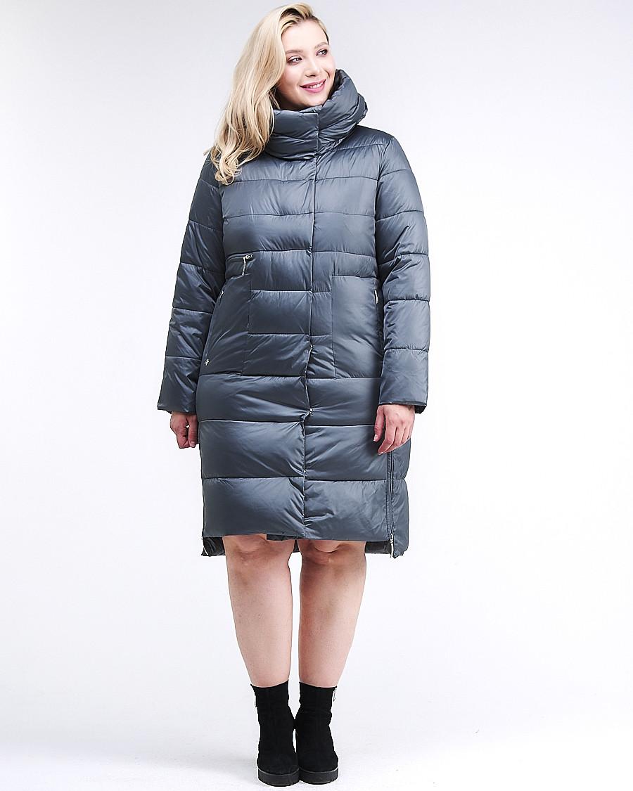 Купить оптом Куртка зимняя женская молодежная темно-серого цвета 191923_11TС в Казани