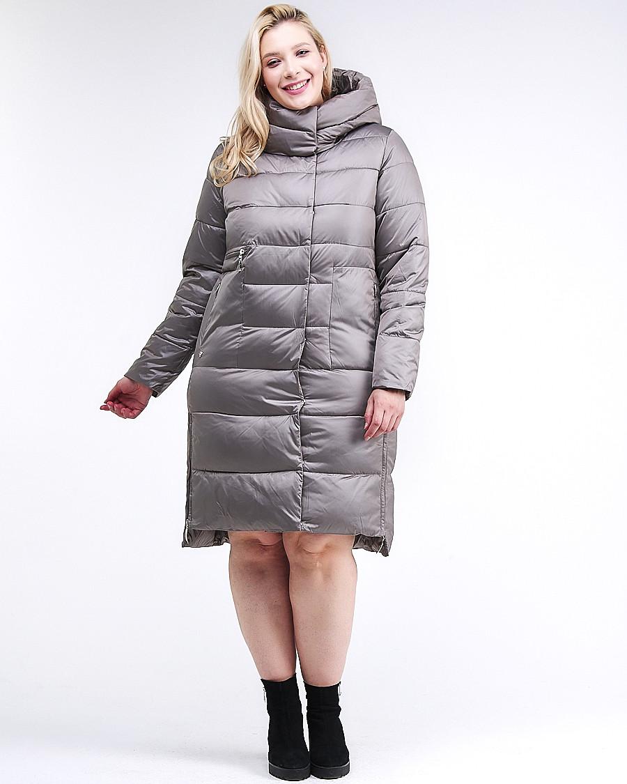 Купить оптом Куртка зимняя женская молодежная серого цвета 191923_30Sr в Казани