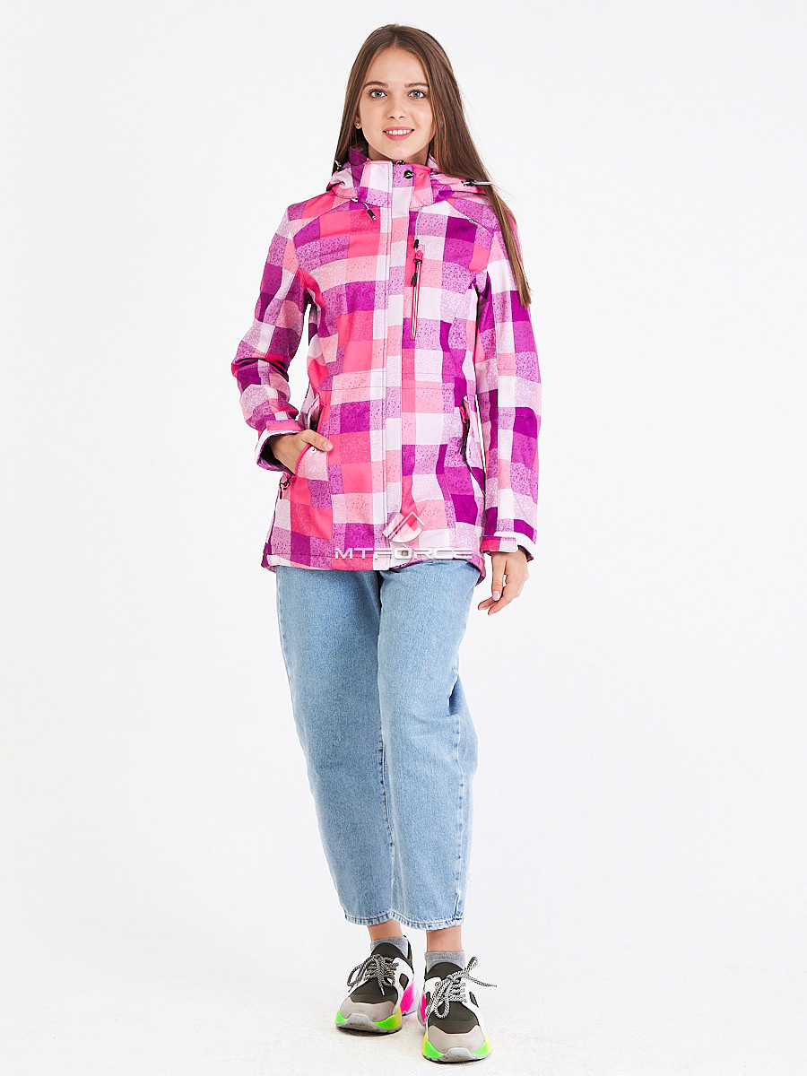 Купить оптом Парка женская осенняя весенняя softshell розового цвета 1923R