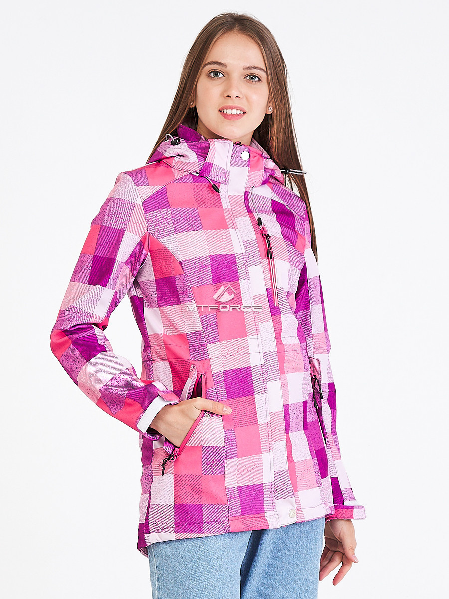 Купить оптом Парка женская осенняя весенняя softshell розового цвета 1923R в Казани