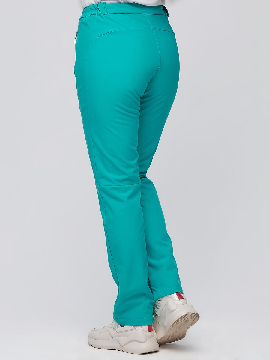 Купить оптом Брюки женские из ткани softshell бирюзового цвета 1926Br в Казани