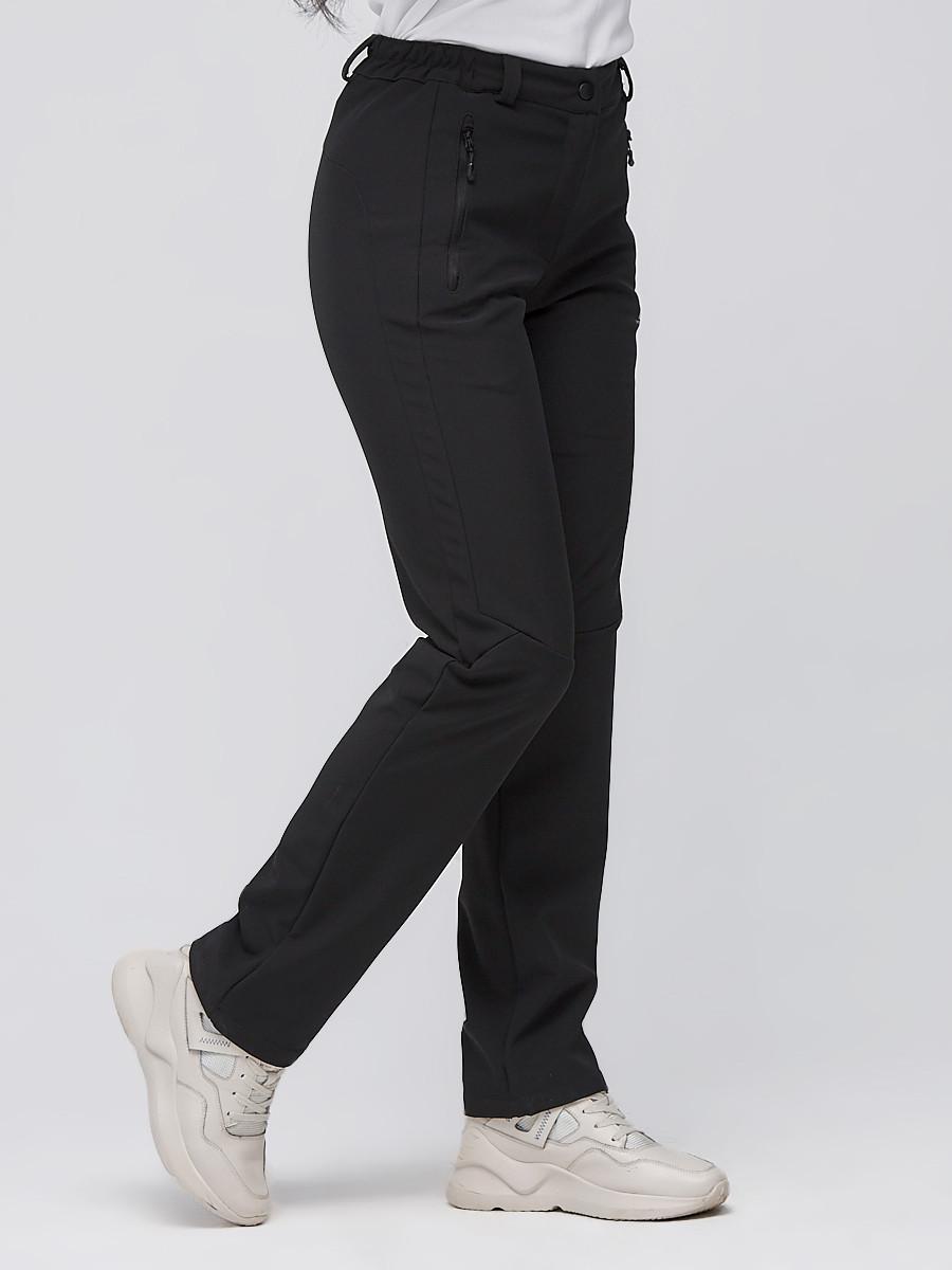 Купить оптом Брюки женские из ткани softshell черного цвета 1926Ch в Перми