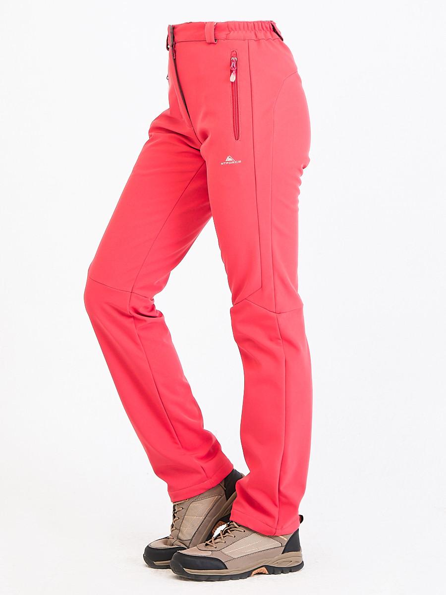 Купить оптом Брюки женские из ткани softshell розового цвета 1926R в  Красноярске