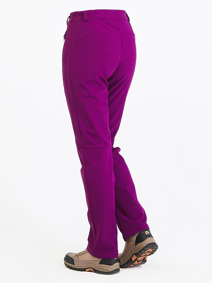 Купить оптом Брюки женские из ткани softshell фиолетового цвета 1926F