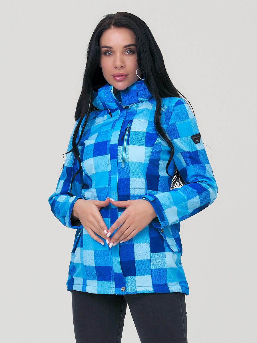 Купить оптом Парка женская осенняя весенняя softshell синего цвета 1923S в  Красноярске