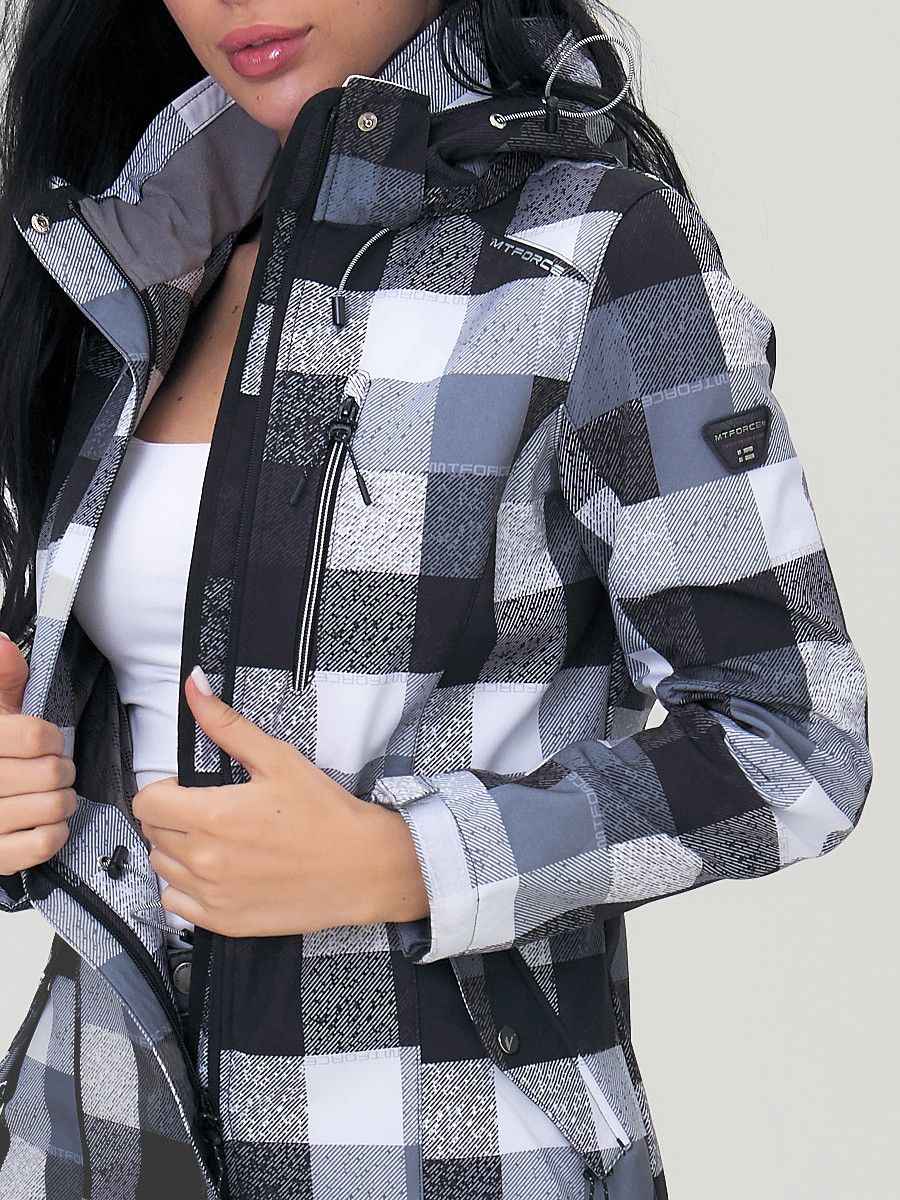 Купить оптом Парка женская осенняя весенняя softshell серого цвета 1923Sr в Екатеринбурге