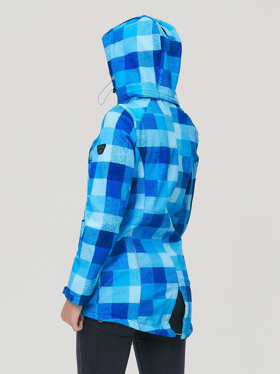 Купить оптом Парка женская осенняя весенняя softshell синего цвета 1923S в Санкт-Петербурге