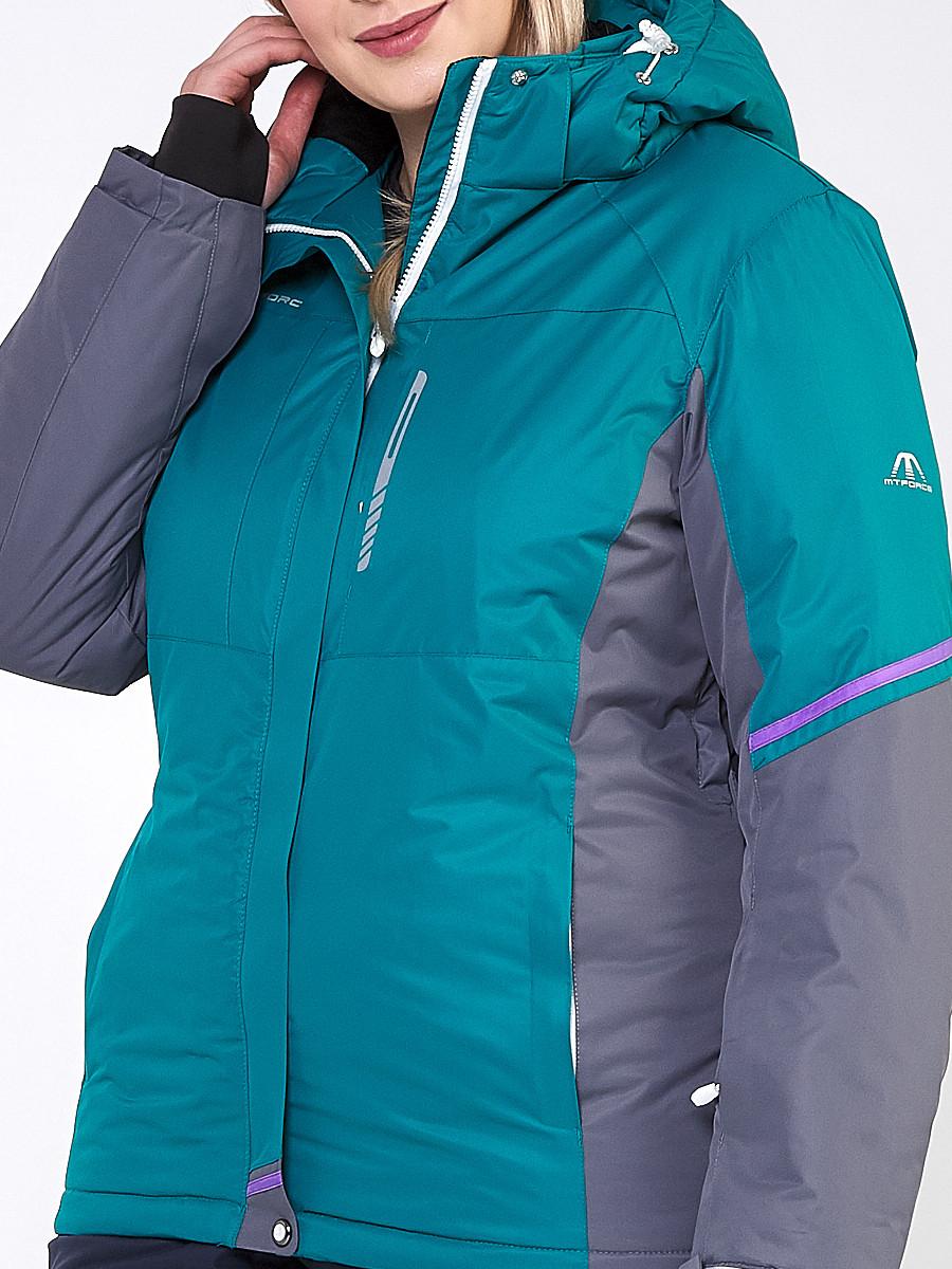 Купить оптом Костюм горнолыжный женский большого размера зеленого цвета 01934Z в Перми