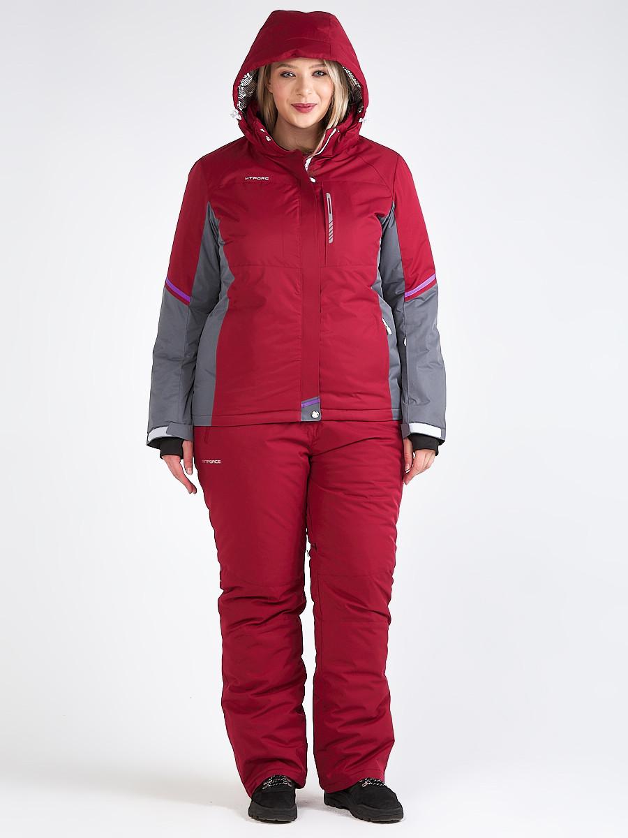 Купить оптом Костюм горнолыжный женский большого размера бордового цвета 01934Bo