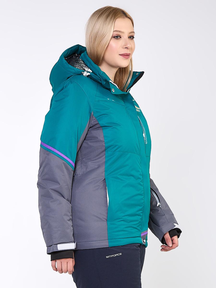 Купить оптом Куртка горнолыжная женская большого размера зеленого цвета 1934Z в Санкт-Петербурге