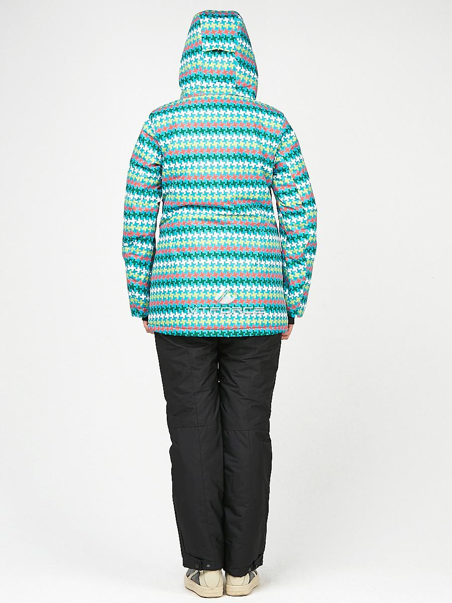 Купить оптом Женский зимний горнолыжный костюм бирюзового цвета 01937Br в Новосибирске