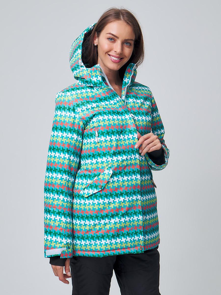 Купить оптом Женская зимняя горнолыжная куртка бирюзового цвета 1937Br в Екатеринбурге