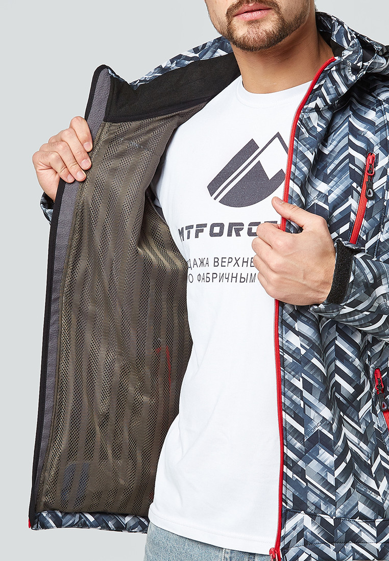 Купить оптом Ветровка softshell мужская темно-серого цвета 1941TC