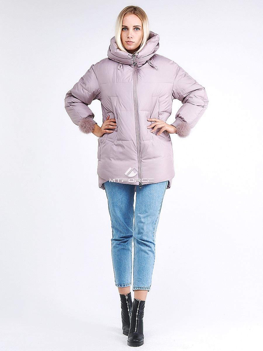 Купить оптом Куртка зимняя женская молодежная с помпонами розового цвета 1943_12R в Казани
