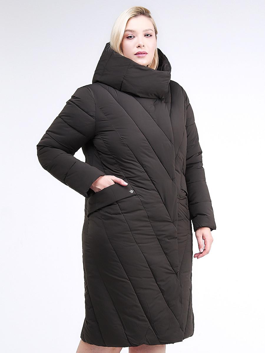 Купить оптом Куртка зимняя женская классическая одеяло коричневого цвета 191949_09K