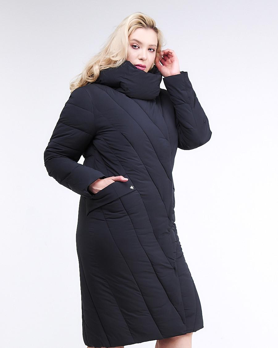 Купить оптом Куртка зимняя женская классическая одеяло темно-серого цвета 191949_11TC